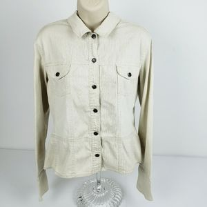 SO XL Fitted Cream Jean Jacket